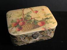 Vintage Sewing Jewelry or Trinket Box Strawberries and Paisley with Mirror
