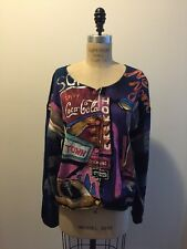 Vintage Kolorway 1990s Purple Blue PInk Painted Sweater Coca-Cola New York Sony