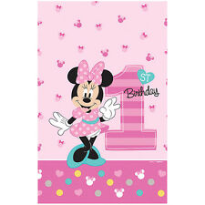"""96"""" x 54"""" Disney Fun One Minnie Mouse 1st Birthday Party Plastic Table Cover"""
