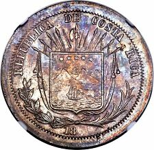 18XX (1873) Costa Rica Silver Pattern 50 Centavos Reeded Edge NGC MS 62