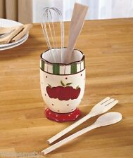 Country Red Apple Themed Dot Kitchen 5-Pc. Utensil Crock Holder Organizer Decor