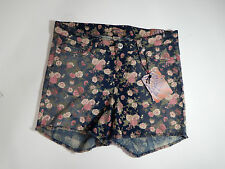 Womens shorts size 16 Breaker Jean Shorts Blue With Pink Floral Pattern Sz 16