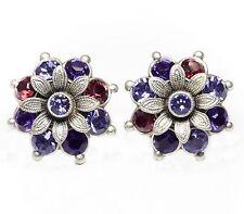 Neu OHRCLIPS mit SWAROVSKI STEINE lila/purple velvet/tanzanite/burgundy OHRRINGE