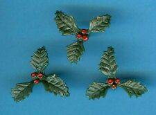 MINI PLASTIC HOLLY PIQUET (Pk of 25) CHRISTMAS CAKE DECORATION - 1st CLASS POST