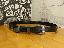 Onxy by Brighton Black Leather Belt Golf Medallions Size 36