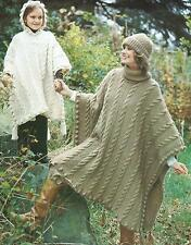 Ladies Girls Knitting Pattern Poncho Hat Chunky Knit  274