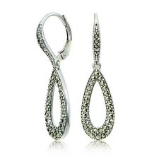 Sterling Silver Marcasite Open Teardrop Dangle Leverback Earrings