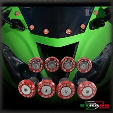 Strada 7 CNC Windscreen Bolts M5 Wellnuts Set Suzuki GSXR750 All Years Red