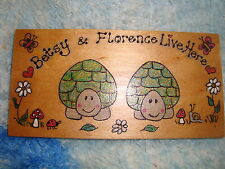 Personalised 2 Character Tortoise Table Run Garden House Playhouse Sign Plaque