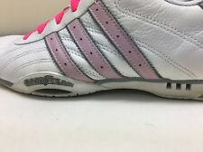 TEAM ADIDAS GOODYEAR white/pink LEATHER Woman's SIZE 9 US ATHLETIC RACE SHOES