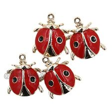 10x Gold Plated&Red Enamel Alloy Ladybird Shape Pendant Charms Jewelry ON SALE D