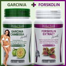 2 x BOTTLES - 60 GARCINIA CAMBOGIA + 60 FORSKOLIN Weight Loss Slimming Capsules