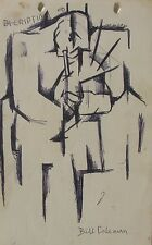 "BILL COLEMAN AUSTRALIAN SIGNED CUBIST INK ""THE TRUMPET PLAYER MUSICIAN"" C 1970"