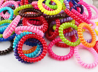 5 Spiral Plastic Hair Bands Baby Girls Ponytail Stretchy Elastic Bobbles Band