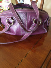 Roots Purple Leather Satchel