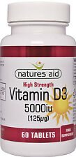 Vitamin D3 5000iu (125ug) x 60 tabs Natures Aid - suitable for Vegetarians