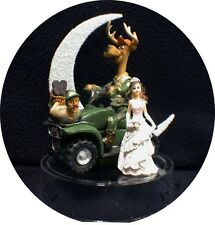 "Deer Hunting Funny Hunter Groom WEDDING CAKE TOPPER TOP Dark hair bride "" CATCH'"