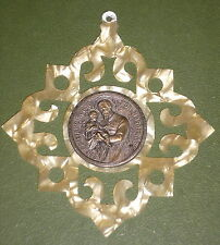 ST CAYETANO PATRON ST OF BREAD & WORK OLD OPENWORK PROTECTOR PENDANT CRIB