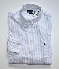 NWT Men Ralph Lauren Business Casual Long-Sleeve Shirt White, Blue 16 34-35