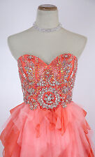 Jovani Coral $640 Cruise Strapless Prom Formal Evening Gown Homecoming Size 2