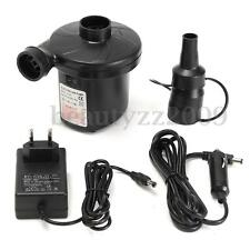 Electric 240V&12V Car Auto Air Pump Inflator + 3 Nozzles AirBed Mattress Boat