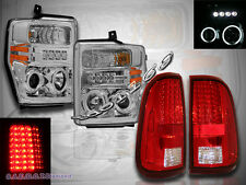 08-10 FORD F250 F350 F450 CCFL HALO PROJECTOR HEADLIGHTS + RED/CLEAR TAIL LIGHTS