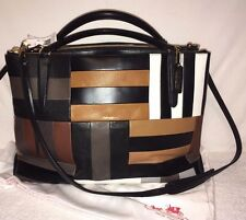 COACH NWT X-LARGE BOROUGH LEATHER WALNUT BLACK PATCHWORK SHOULDER BAG 30373