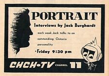 1960 CHCH Tv Ad~JACK BURGHARDT hosts PORTRAIT in HAMILTON ONTARIO CANADA
