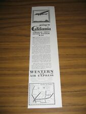 1930 Print Ad Western Air Express Going to California Airplane in Flight