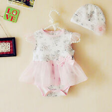 2pcs Girl Baby Cap Hat+Romper Playsuit Bodysuit Tutu Clothing Set Outfits 9-12M
