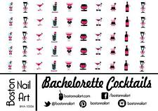 Bachelorette Cocktails - Waterslide Nail Decal - 50 PC - BNA-10006