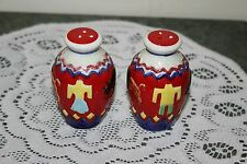VINTAGE...HAND PAINTED...CAVE PAINTINGS... SALT  &  PEPPER  SHAKERS.....JAPAN