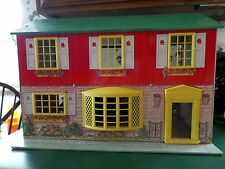 Vintage 50'S WOLVERINE TIN METAL LITHO 2 STORY DOLL HOUSE and 27 pcs Furniture
