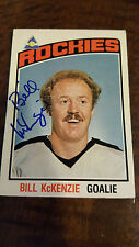1976-77 OPC SIGNED CARD BILL MCKENZIE ROCKIES SCOUTS RED WINGS ENGLAND UK # 267