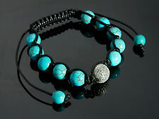 HIGH QUALITY SHAMBALLA ARMBAND 16-22 cm TÜRKIS mit 925 SILBER PAVE PERLE