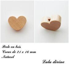 Perle en bois de 21 x 16 mm, Perle plate Coeur : Naturel