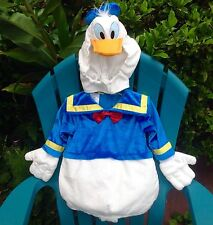 DISNEY STORE DONALD DUCK SAILOR PLUSH BABY COSTUME HAT GLOVES 6-12m SQUEAKS!