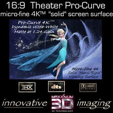"97"" 16:9 Pro-Curve 4K ""SOLID"" PROJECTOR SCREEN FIXED WALL PROJECTION 3D ENABLED"