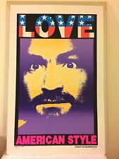 KOZIK 1996 Poster LOVE AMERICAN STYLE CHARLES MANSON Print SIGNED RARE PURPLE!