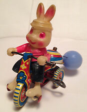 Vintage Celluloid Tin Litho Wind Up Rabbit on Tricycle W Bell Easter Toy Japan