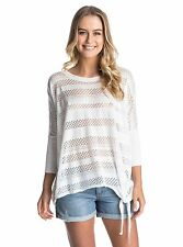 NWT Roxy Women's Aeria Side Knot Detail White Light Sweater Size Small