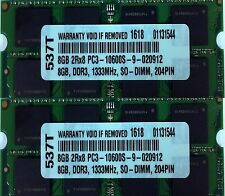 16GB (2X8GB) DDR3 PC3-10600 1333MHz CL9 204 PIN SO DIMM MEMORY RAM