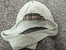 100% AUTHENTIC BURBERRY BOY GIRL IVORY REVERSIBLE WITH LONG TIES CHECK HAT SZ.50