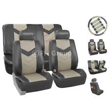 PU Leather Complete Set Front Back Seat Covers Gray For Car