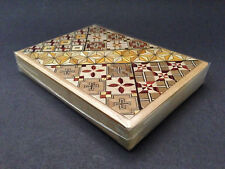 Japanese Wooden Yosegi Magic Cigarettes Flat Puzzle Trick Box 4 Steps HK-033