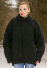 SUPERTANYA Hand Knitted Mohair Sweater Ribbed Turtleneck BLACK Mens Polo Jumper