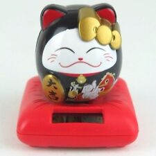 "Black Maneki Neko Beckoning Money Lucky Cat Bobs Nods Head Solar Power 3""H New"