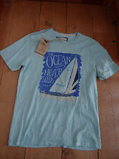 FAT FACE WATERCOLOUR BOAT YACHT AQUA TEE T SHIRT COTTON XS MEN TEEN BNWT