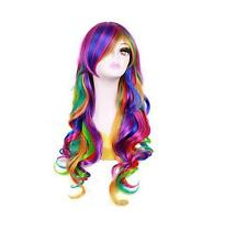 Fashion Women's Rainbow Ombre Wig Lolita Hair Synthetic Hair Anime Full Wigs+Cap