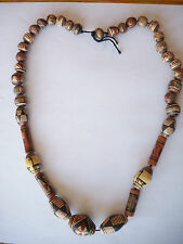 """Vintage African Clay Bead Necklace Handpainted African Animals 26"""" Good"""